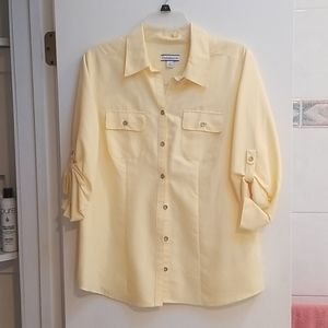 Cornflower yellow front button blouse